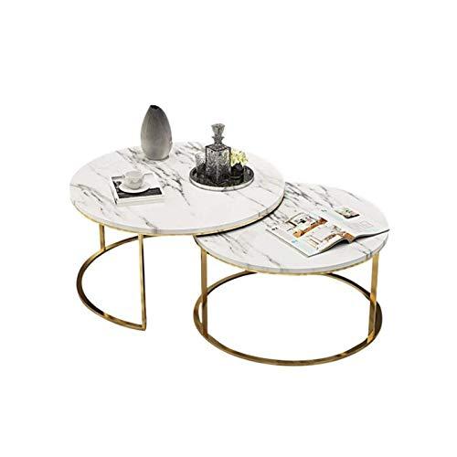 ZXNRTU Diseño Simple Tablas de café Fin Juego de 2, Modern anidamiento Sofá Mesa Auxiliar Mesa de cóctel for el hogar Sala de Estar, Mesa de mármol y Patas de Metal Top Frame