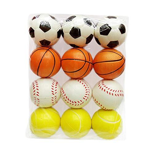 Paquete de 12 Bolas Deportivas Suaves Bolas antiestrés Bolas de Espuma para Regalo de Fiesta Relleno de Bolsas de Regalo para niños Incluye Baloncesto, béisbol, fútbol y Tenis