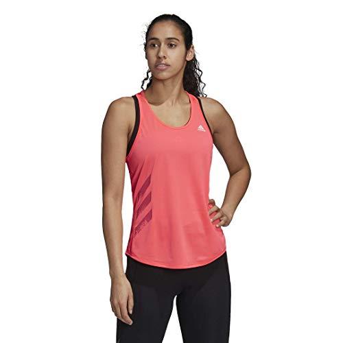 adidas Camiseta sin Mangas Personal Best Run It de 3 Rayas para Mujer, Mujer, Camisa, KCM94, Señal Rosa, XS