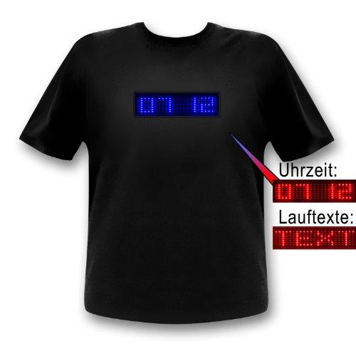 T-Shirt avec LED QTX texte fonction et affichage heure avec écran LED rouge ou bleue M bleu