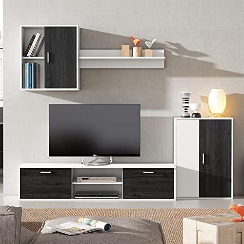 VS Venta-stock Mueble salón Comedor módulo bajo módulo Colgante y Armario Color Blanco y Negro 180x220 cm