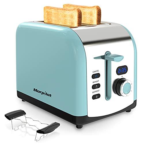 Mini Tostapane, Morpilot Sandwich Tostapane con 2 Ampie Fessure in Acciaio Inossidabile e...