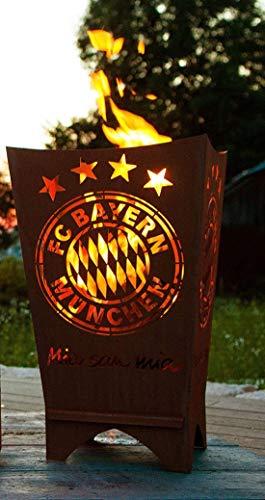 Feuerkorb Feuerstelle Feuersäule Mia san Mia FCB Bayern Fußball robust aus Stahl Hochwertig gelasert Offizielles Lizenzprodukt Maße: 70 cm x 40 cm x 40 cm