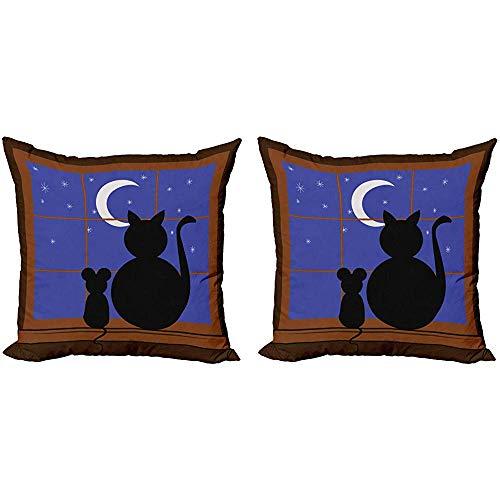 Juli kat decoratieve gooien kussenhoes, beste vrienden zittenhet raam staren op de maan tijdens de nacht