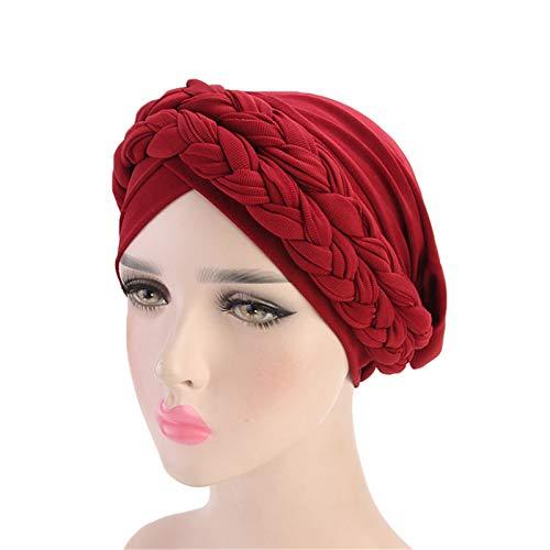 JOMSK Gorra de Sombrero Turbante 3PCS Ladies Europa Hat Twist Braid Hat Turban (Color : Wine Red, Size : One Size)