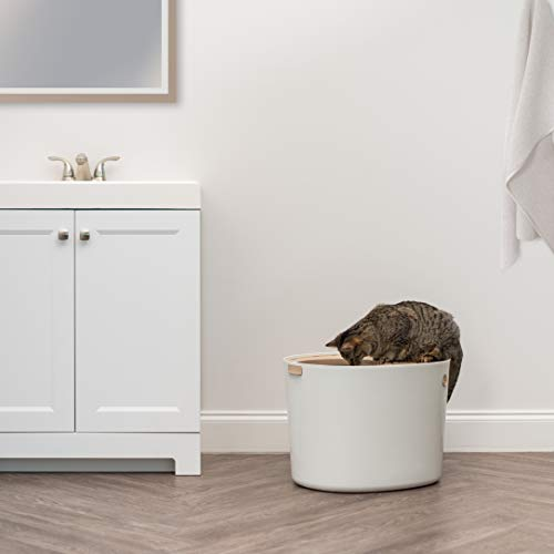 IRIS USA, Inc. IRIS USA Top Entry Cat Litter Box with Cat Litter Scoop, White & Beige Punt-530, Large (586962)