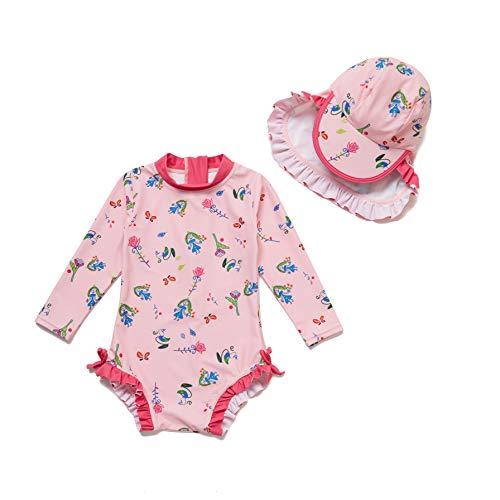 Soui Baby Mädchen EIN stück Langärmelige-Kleidung UV-Schutz 50+ Badeanzug MIT Einem (Blumenfee, 6-9)