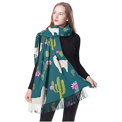 Dora Will Lama and Cactus Frauenschals Retro-Schal für alle Jahreszeiten