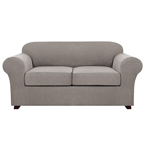 3 Stück Stretch Sofabezug für 2 Kissen Couch Zweisitzer Bezüge für Wohnmöbel Schonbezüge (Grundbezug plus 2 Sitzkissenbezüge) Feature Verbesserter dickerer Jacquard-Stoff (2-Sitzer, Taupe)