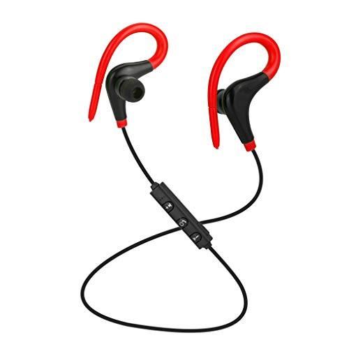teng hong hui Bluetooth 4.1 Auricular Deportes Correr Música Auricular Auriculares inalámbricos estéreo para Auriculares Ear Hook, Rojo