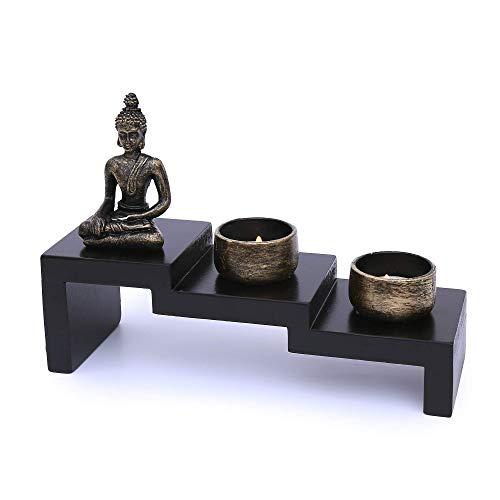 Flanacom Zen Garten mit Buddha Figur - Japanischer Miniatur Garten - Feng Shui Kerzenhalter - Esotherik Set mit 2 Teelichtern - Glücksbringer aus dem Buddhismus und Daoismus (als Teelichthalter)