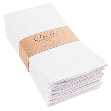 KAF Home Chateau Easy-Care Cloth Dinner Napkins - Set of 12 Oversized (20 x 20 inches) (White)