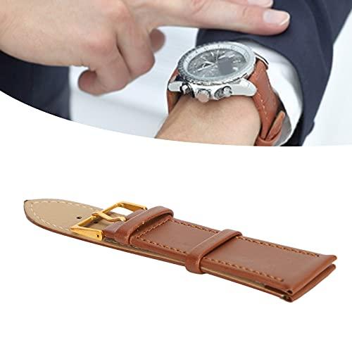 Zhjvihx Correa de Reloj con Hebilla de Pasador, Correa de Reloj de Cuero PU Resistente al Desgaste para Uso Profesional para Uso General para Reloj de Repuesto(22mm Brown)