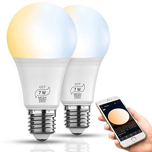 Bluetooth Smarte E27 LED Lampe CCT 2700K-6500K, Dimmbare 7W 600 Lumen Sparglühbirnen Ersetzt 60W Glühbirne, Warmweiß Kaltesweiß Birne Timer Wake-up Sync mit Musik, kein Hub benötigt (2er Pack)