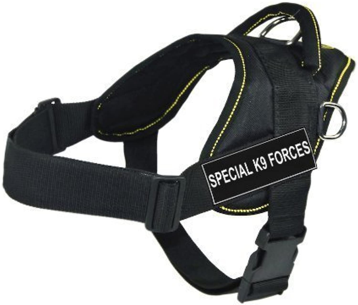 Dean & Tyler Fun Works Harness, Special K9 Forces, Black With Yellow Trim, Small  Fits Girth Size  56cm to 69cm