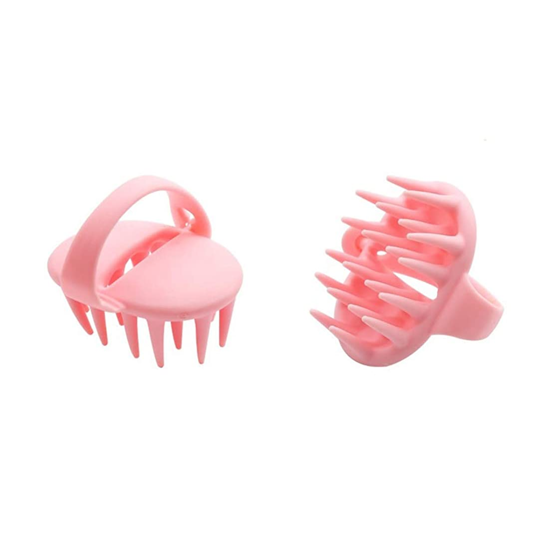 動く二層インデックスHealifty 調整可能なハンドル付きシリコンシャンプーブラシスカルプマッサージブラシ(ピンク)