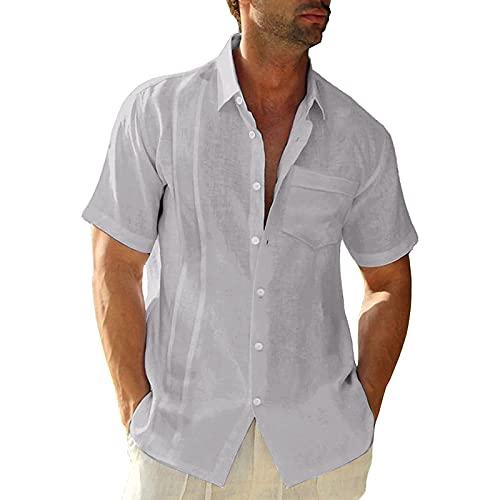 KANGYONG Camisa de manga corta para hombre, de algodón y lino, con bolsillo en el pecho, corte ajustado. A_gris M