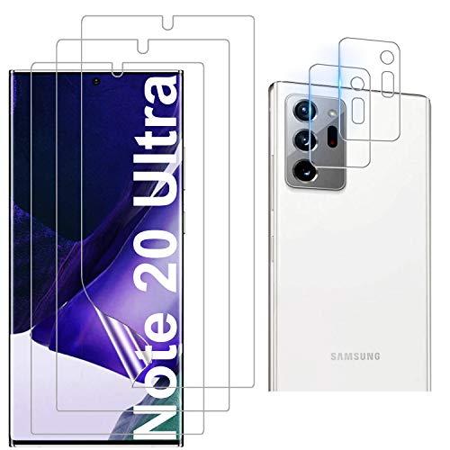 Luibor - Protector de pantalla para Samsung Galaxy Note 20 Ultra (3 unidades) + Protector de lente de cámara para Samsung Galaxy Note 20 Ultra Cristal Templado Resistente a los Arañazos