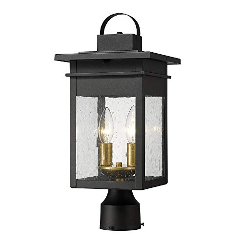 Zeyu 2-Light Outdoor Post Lantern Lamp, 17 inches Exterior Post Light Fixtures in Black and Gold Finish with Seeded Glass, 20072P2