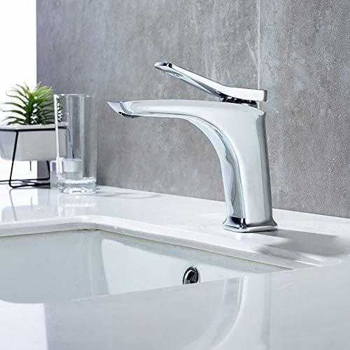 BFDMY High-End-Luxus Einhebel Waschtischarmatur Aus Messing Badezimmer Waschbecken Wasserhahn Heißes Und Kaltes Wasser Mischbatterie Bad Armatur Einhebelmischer,Chrome