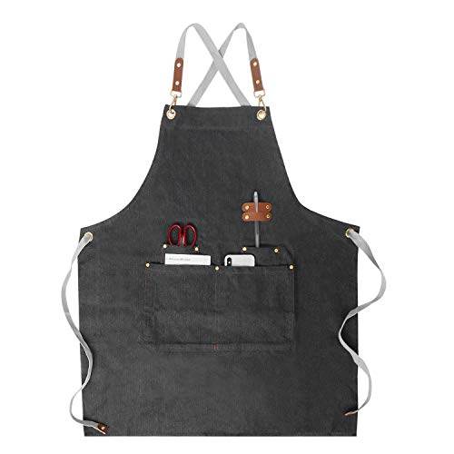 Chef apron Denim Cross Back Apron with Pockets x4 Adjustable Straps and Ties
