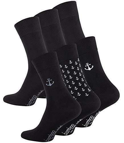 CC Clark Crown 6 Paar Bambus Socken Edel & Modern, ohne drückende Naht, Schwarz Uni & Ankermuster, Gr. 39-42