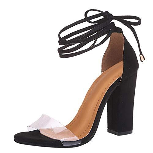 Minetom Damen Sandaletten Plateau Blockabsatz High Heels Schuhe Flandell Schwarz EU 36
