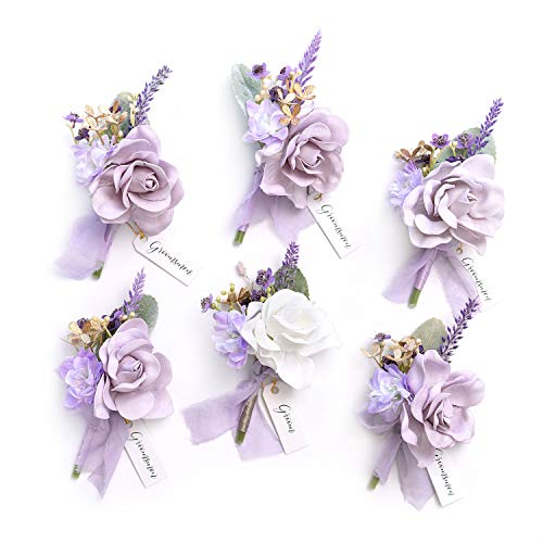 Ling's moment Light Purple Gardenia & Lavender Boutonniere for Men Wedding - Groom and Best Man Boutonniere with Pins for Wedding Ceremony Anniversary and French Rustic Vintage Wedding (Set of 6)