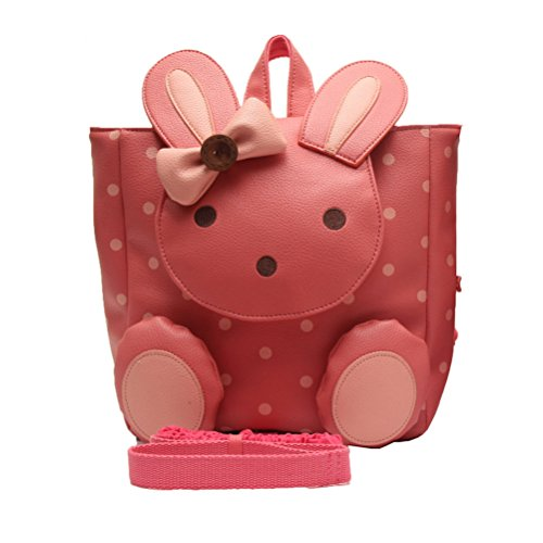 Kids Children Animal Design Backpack For Boys Girls Baby Backpack Anime Schoolbags Lunch Box Backpack And Anti Lost-Rabbit Red