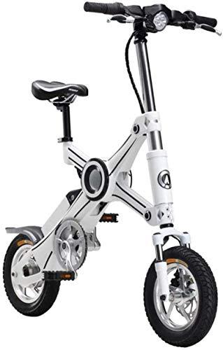 Bicicleta Plegable portátil, Marco de aleación de Titanio 12 Pulgadas Bicicleta eléctrica, 250W 36V Batería de Litio Scooter eléctrico Doble Disco Fre.