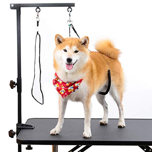 "Breeze Touch Dog Grooming Table Arm - 35"" Dog Grooming Stand with Clamp and Post, Loop Noose, No Sit Haunch Holder Grooming Restraint for Small & Medium Dogs"