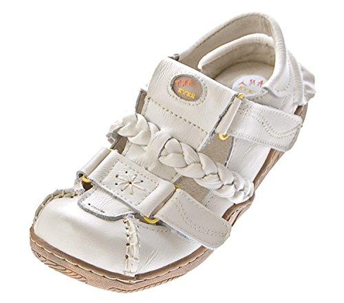 TMA Damen Echt Leder Sandalen 2X Klett Weiß Schuhe Used Look Sandaletten Gr. 36