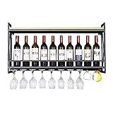 GDSKL Estante para vino 100Cm Soporte para copa de vino montado en la pared Bar/Pub Soporte para botella de vino Gabinete Estilo vintage Estantes para copas de copa de vino
