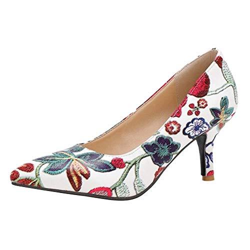 COOLCEPT Damen Elegant Stiletto Party Office Shoes High Heel Pumps Slip Ons Pumps Schuhe Blumen Print Blue Gr 40 Asian