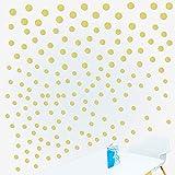 180pcs Pegatinas de Puntos Pared Vinilos Adhesivos Stickers Decorativos Pared Etiquetas Pared Decoración Salón Dormitorio Habitación de Niños Infantiles Dorado