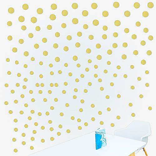 180 Stück Gold Punkte Wandsticker Selbstklebende Wandaufkleber Dots Aufkleber Wandtattoo in 3 Größen (3cm, 4cm, 5cm) für Kinderzimmer Wohnzimmer Schlafzimmer Wände und Möbel Haus Deko