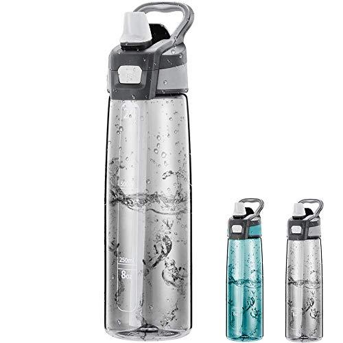 Newdora Trinkflasche 750ml Wasserflasche Mit Trinkhalm BPA Frei Aufklappbarer Deckel mit Tragegriff Auslaufsicher Sportflasche für Outdoor, Yoga, Schule,Büro,Eco-Friendly (Grau)
