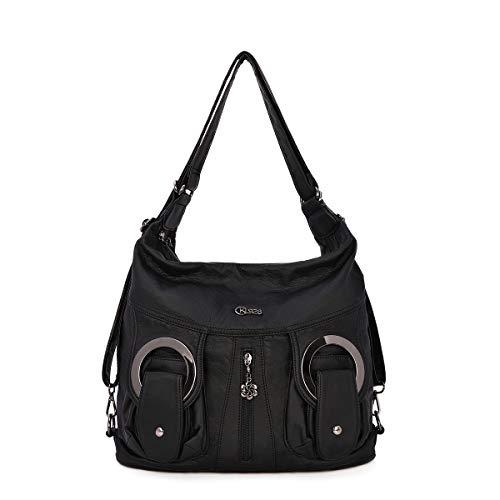 KL928 Damen Schultertaschen Handtaschen Umhängetasche Hobo Tasche Rucksack Weiches Leder Crossbody Geldbörse mit Reißver Schlusstaschen (W6802-Schwarz) (BLACK)