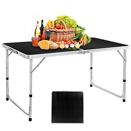 Folding Picnic Table, 4FT Aluminum Height Adjustable Alightweight Portable Handle, Rust Resistance Table for Outdoor Picnic Beach Backyard, 47