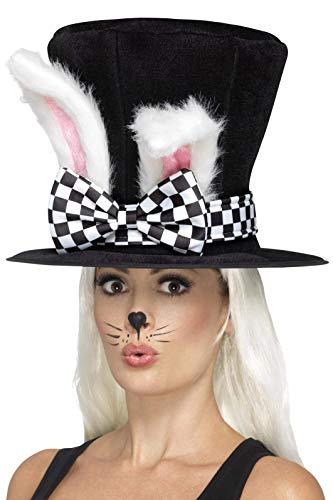 Halloween! Smiffys Teeparty-Märzhase-Zylinder, Schwarz und Weiß, mit befestigten Hasenohren