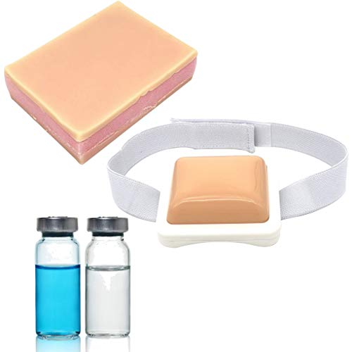 Injection Pad-Plastic Intramuscular, Injection Training Pad for Nurse, Medical Students Training Practice Pad and 2 Pack Sterile Empty Vials 10ml and Silicone Sponge