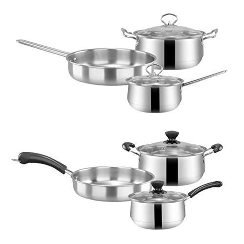 Jilin 3pcs Stainless Steel Cookware Set Flat Bottom Frying Pan Soup Pot Milk Pot Kit
