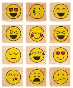 Emoji Wood Rubber Stamps Set Emoticons Smiley Face