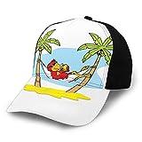 FULIYA Gorra de béisbol para hombres y mujeres, divertida ilustración loro tumbado en hamaca entre la sombra de palmera en Tropics clásico ajustable llano sombrero