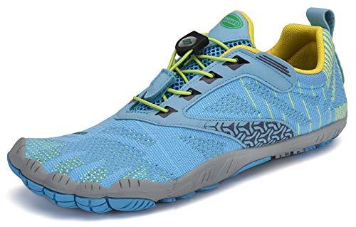 SAGUARO Barfussschuhe Barfußschuhe Damen Traillaufschuhe Straßenlaufschuhe Sommer Barefoot Wander Trekking Training Fitness Sneaker Breiter Zehenbox Minimalistische Schuhe, Himmelblau, 40 EU