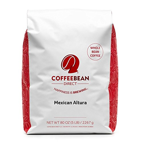 Coffee Bean Direct Mexican Altura, Whole Bean Coffee, 5-Pound Bag