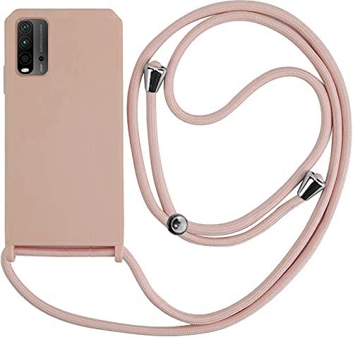 PLANETMOVIL Funda Premium con Cuerda para Xiaomi Redmi 9T (6,53 Pulgadas) Carcasa Candy con Colgante Cordón (Rosa Nude)