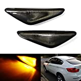 iJDMTOY OEM-Spec Smoked Lens Amber LED Front Turn Signal Side Marker Light Assembly Compatible With BMW X3 X5 X6, Replace OEM Clear LED Sidemarker Lamps