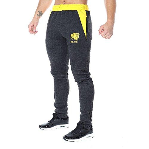 SMILODOX Slim Fit Herren Jogginghose 'Side Head' | Trainingshose für Sport Fitness Gym Training | Sporthose - Jogger Pants - Sweatpants Hosen - Freizeithose Lang, Farbe:Anthrazit/Gelb, Größe:XL