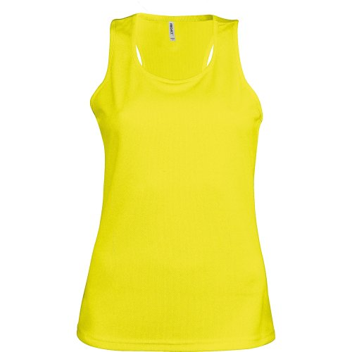 Kariban Proact- Camiseta de Deporte de Tirantes para Chica/Mujer (Mediana (M)) (Amarillo Fluorescente)
